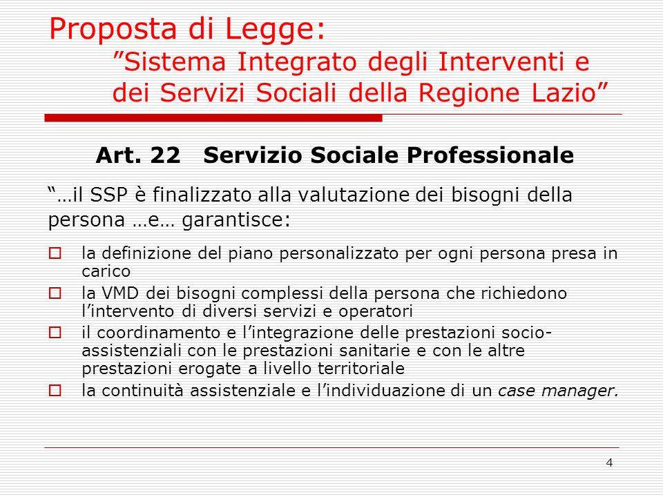 4 Proposta di Legge: Sistema Integrato degli Interventi e dei Servizi Sociali della Regione Lazio Art. 22 Servizio Sociale Professionale …il SSP è fin