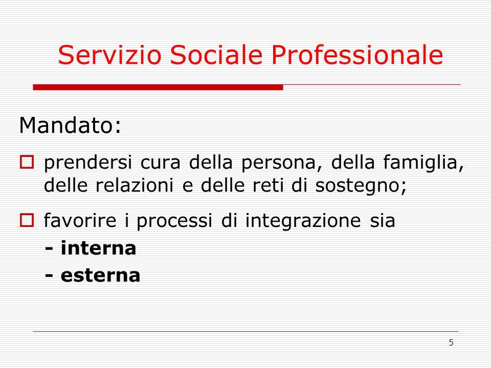 5 Servizio Sociale Professionale Mandato: prendersi cura della persona, della famiglia, delle relazioni e delle reti di sostegno; favorire i processi