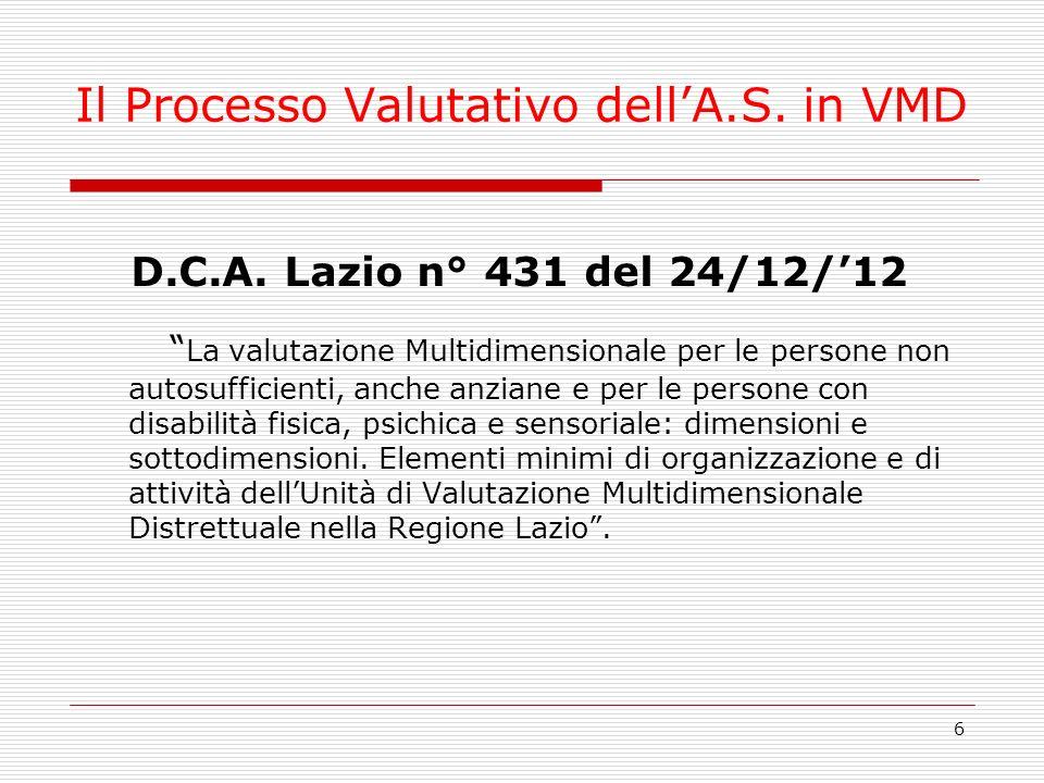 6 Il Processo Valutativo dellA.S. in VMD D.C.A. Lazio n° 431 del 24/12/12 La valutazione Multidimensionale per le persone non autosufficienti, anche a