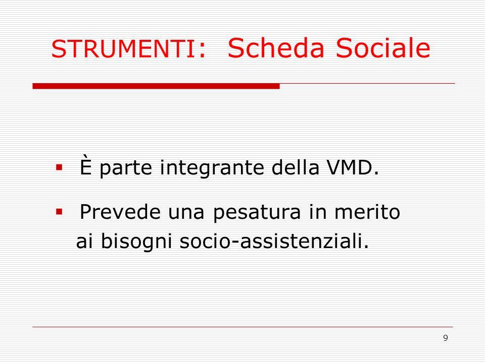 9 STRUMENTI : Scheda Sociale È parte integrante della VMD. Prevede una pesatura in merito ai bisogni socio-assistenziali.