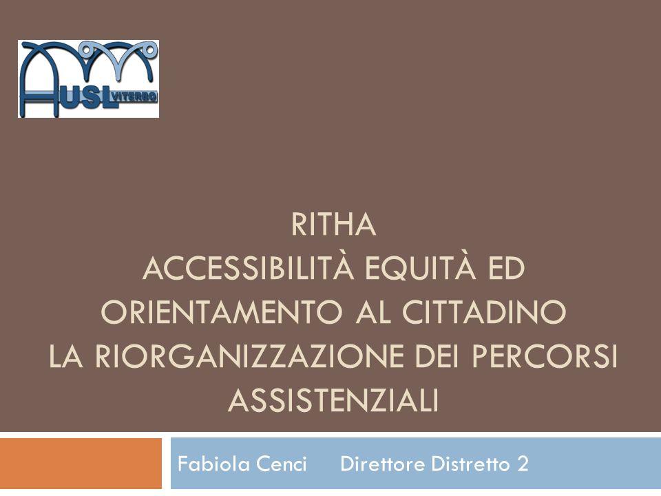 RITHA ACCESSIBILITÀ EQUITÀ ED ORIENTAMENTO AL CITTADINO LA RIORGANIZZAZIONE DEI PERCORSI ASSISTENZIALI Fabiola Cenci Direttore Distretto 2