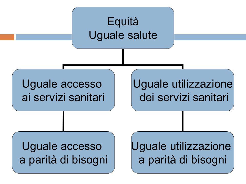 Equità Uguale salute Uguale accesso ai servizi sanitari Uguale accesso a parità di bisogni Uguale utilizzazione dei servizi sanitari Uguale utilizzazi