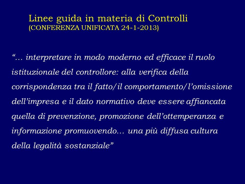 Linee guida in materia di Controlli (CONFERENZA UNIFICATA 24-1-2013) … interpretare in modo moderno ed efficace il ruolo istituzionale del controllore