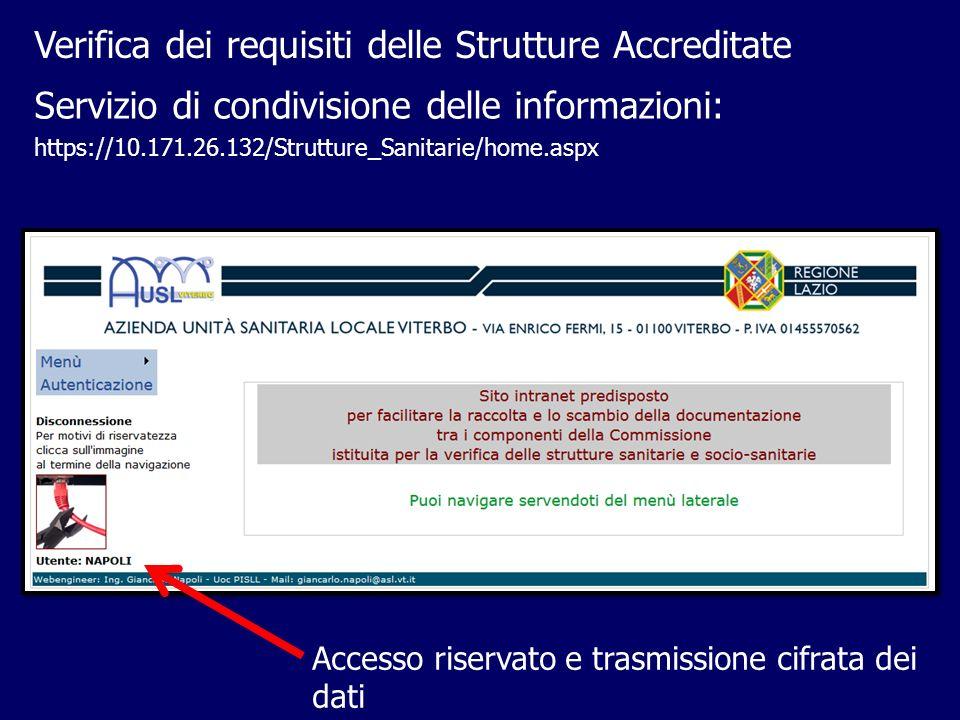 Verifica dei requisiti delle Strutture Accreditate Accesso riservato e trasmissione cifrata dei dati Servizio di condivisione delle informazioni: http