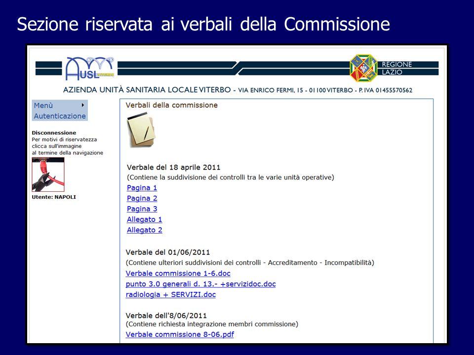 Sezione riservata ai verbali della Commissione