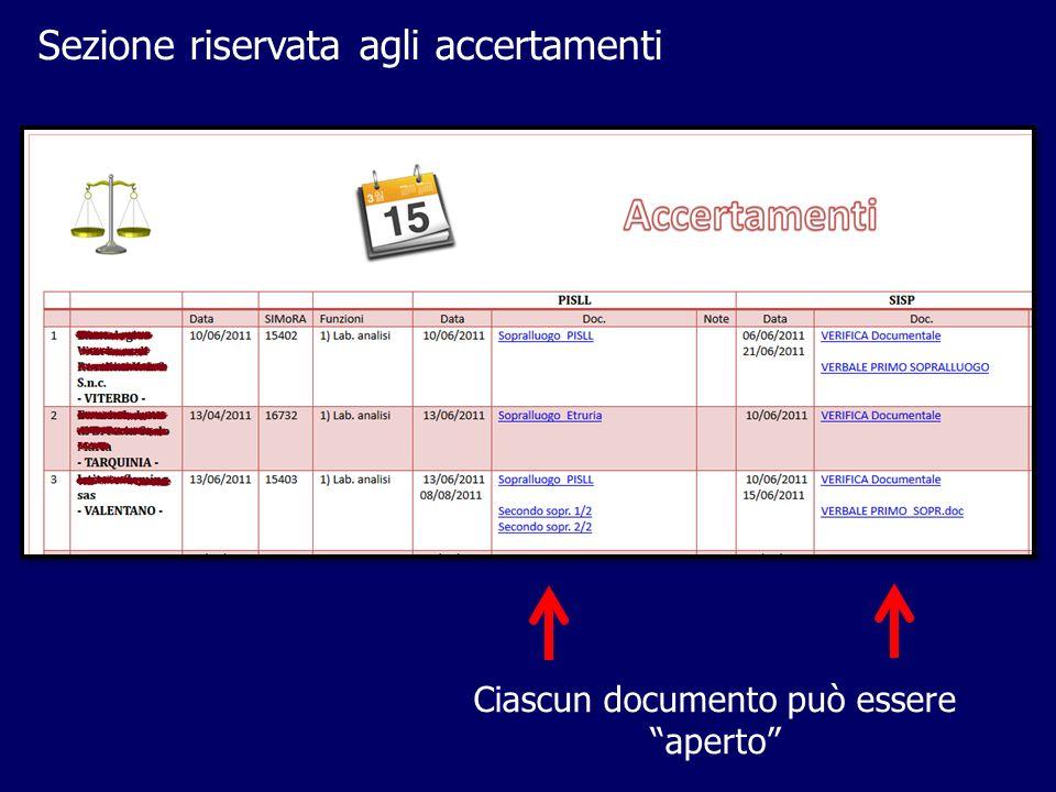 Sezione riservata agli accertamenti Ciascun documento può essere aperto