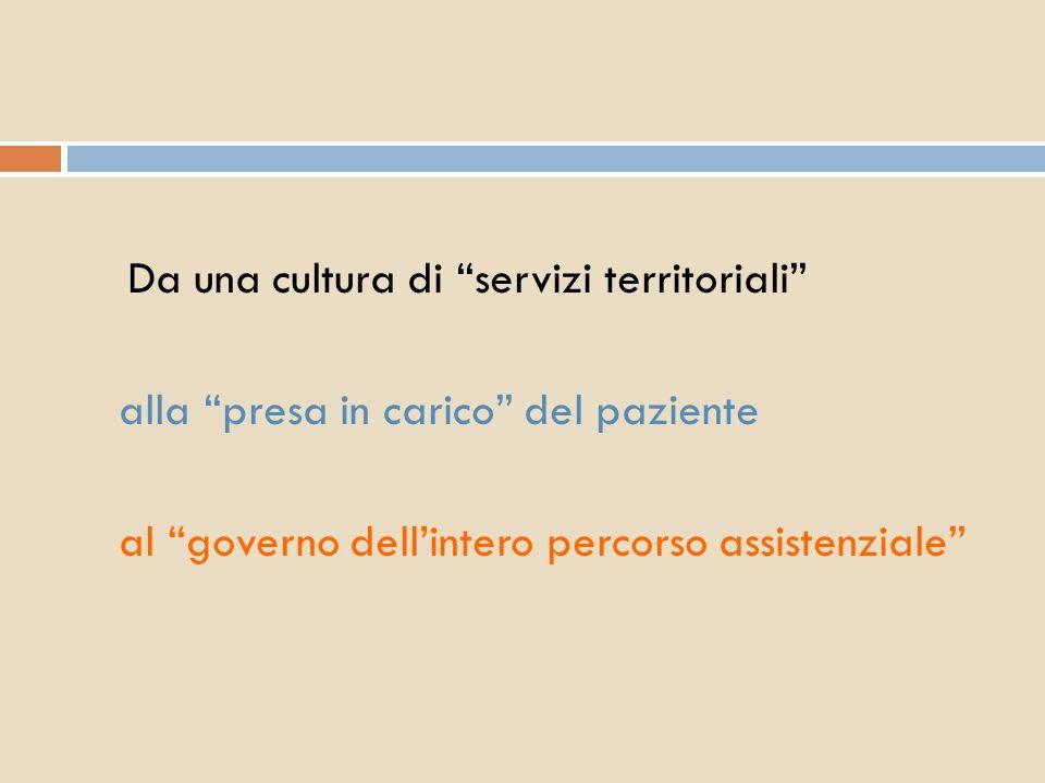 Da una cultura di servizi territoriali alla presa in carico del paziente al governo dellintero percorso assistenziale