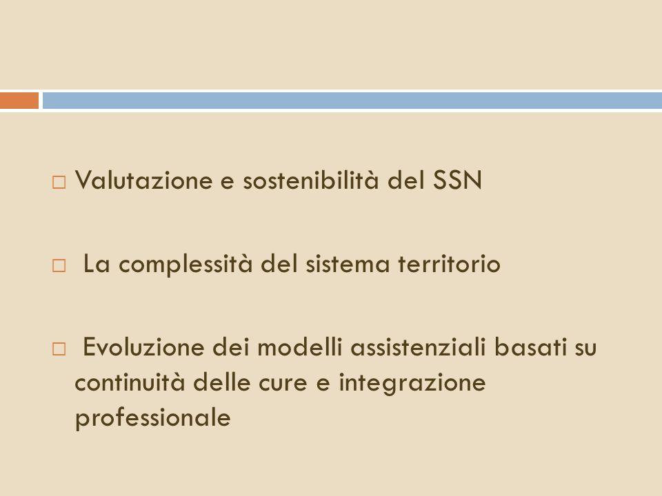 Valutazione e sostenibilità del SSN La complessità del sistema territorio Evoluzione dei modelli assistenziali basati su continuità delle cure e integ