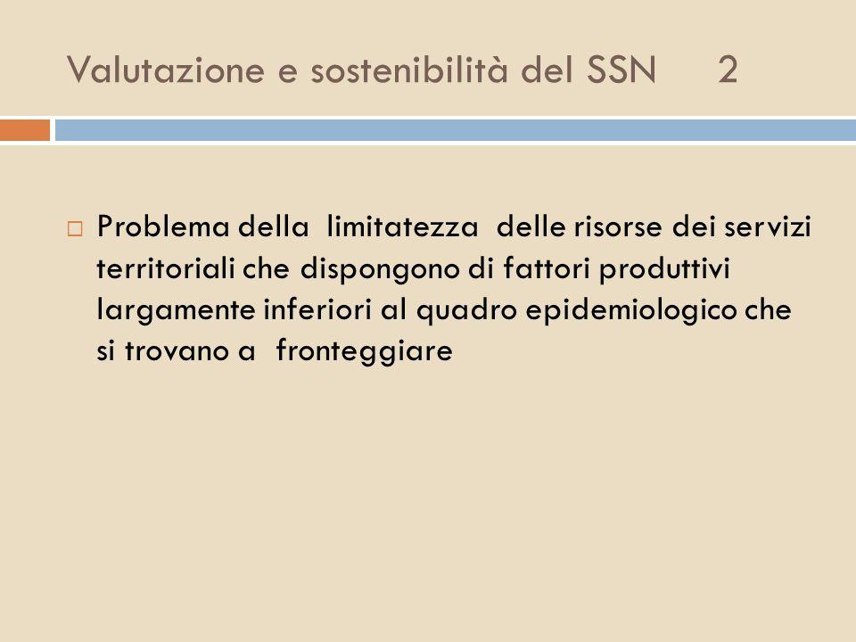 Valutazione e sostenibilità del SSN 2 Problema della limitatezza delle risorse dei servizi territoriali che dispongono di fattori produttivi largament