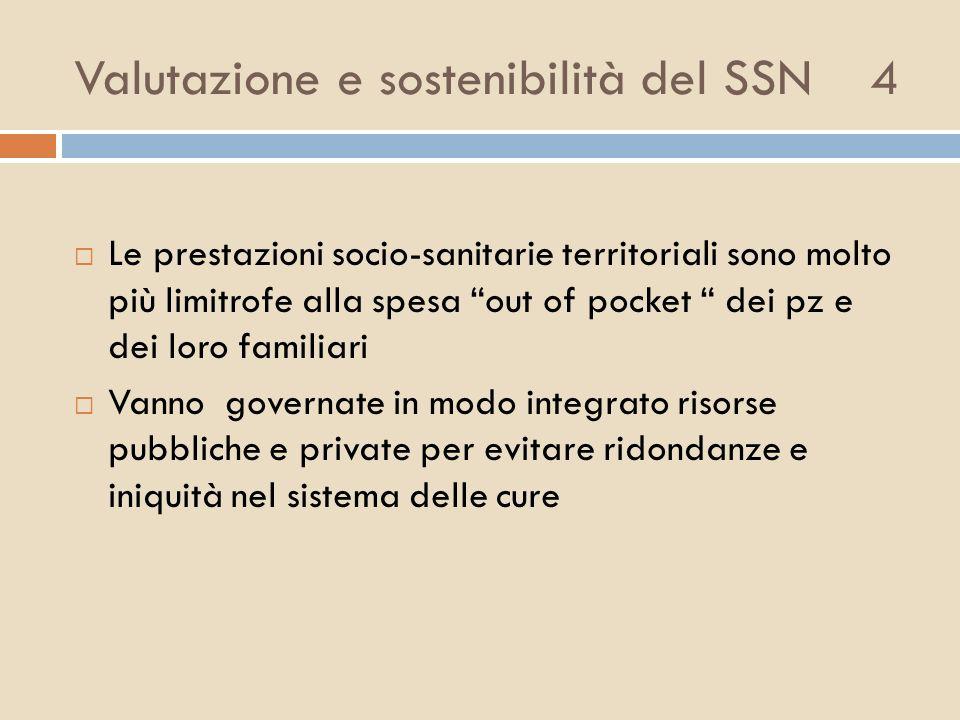 Valutazione e sostenibilità del SSN 4 Le prestazioni socio-sanitarie territoriali sono molto più limitrofe alla spesa out of pocket dei pz e dei loro
