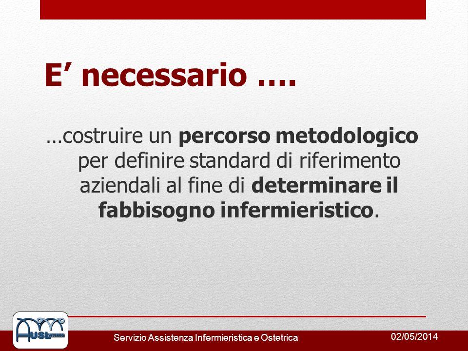 02/05/2014 Servizio Assistenza Infermieristica e Ostetrica E necessario …. …costruire un percorso metodologico per definire standard di riferimento az