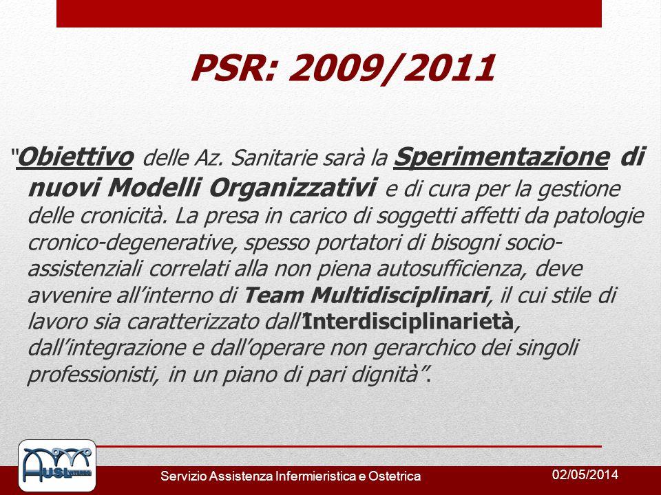 02/05/2014 Servizio Assistenza Infermieristica e Ostetrica PSR: 2009/2011 Obiettivo delle Az. Sanitarie sarà la Sperimentazione di nuovi Modelli Organ