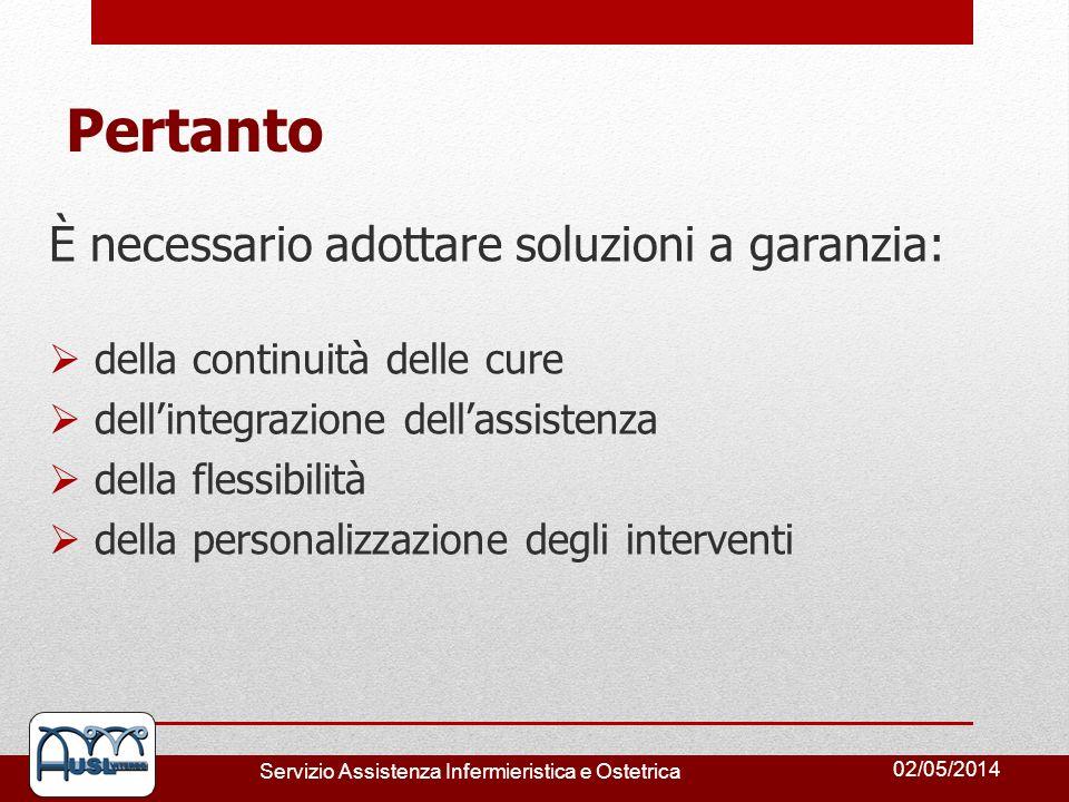 02/05/2014 Servizio Assistenza Infermieristica e Ostetrica Pertanto È necessario adottare soluzioni a garanzia: della continuità delle cure dellintegr