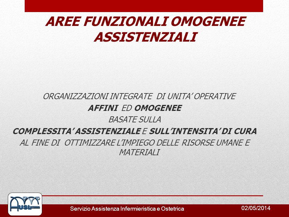 02/05/2014 Servizio Assistenza Infermieristica e Ostetrica AREE FUNZIONALI OMOGENEE ASSISTENZIALI ORGANIZZAZIONI INTEGRATE DI UNITA OPERATIVE AFFINI E
