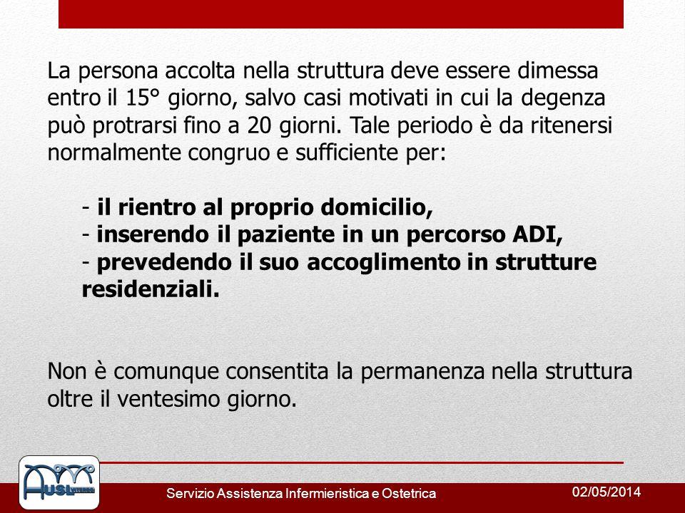 02/05/2014 Servizio Assistenza Infermieristica e Ostetrica La persona accolta nella struttura deve essere dimessa entro il 15° giorno, salvo casi moti