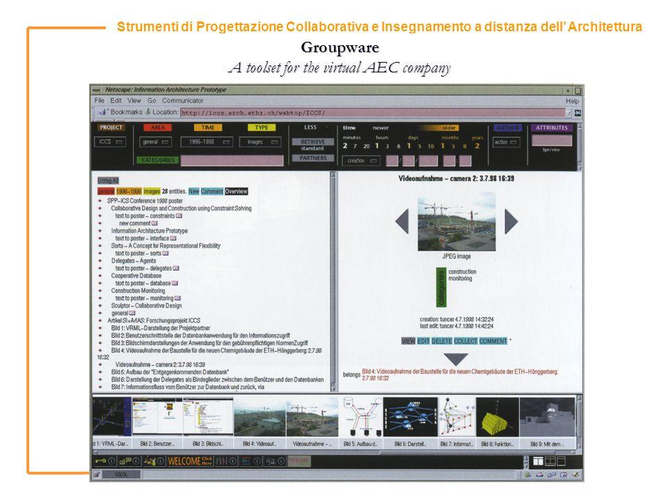 10 Strumenti di Progettazione Collaborativa e Insegnamento a distanza dell Architettura Groupware A toolset for the virtual AEC company