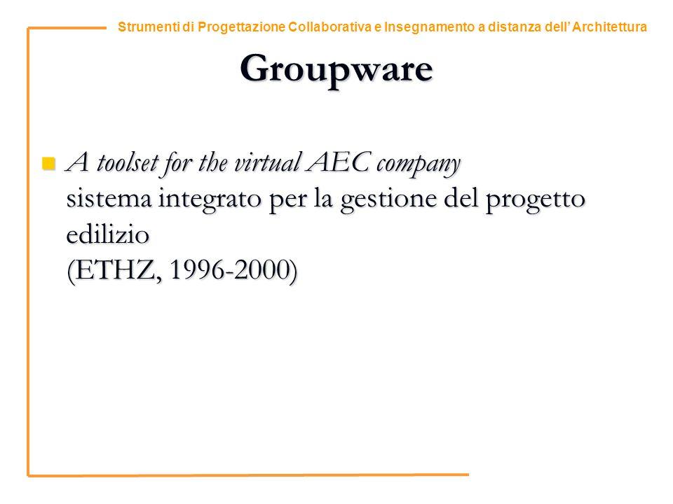 9 Strumenti di Progettazione Collaborativa e Insegnamento a distanza dell Architettura Groupware A toolset for the virtual AEC company sistema integrato per la gestione del progetto edilizio (ETHZ, 1996-2000) A toolset for the virtual AEC company sistema integrato per la gestione del progetto edilizio (ETHZ, 1996-2000)