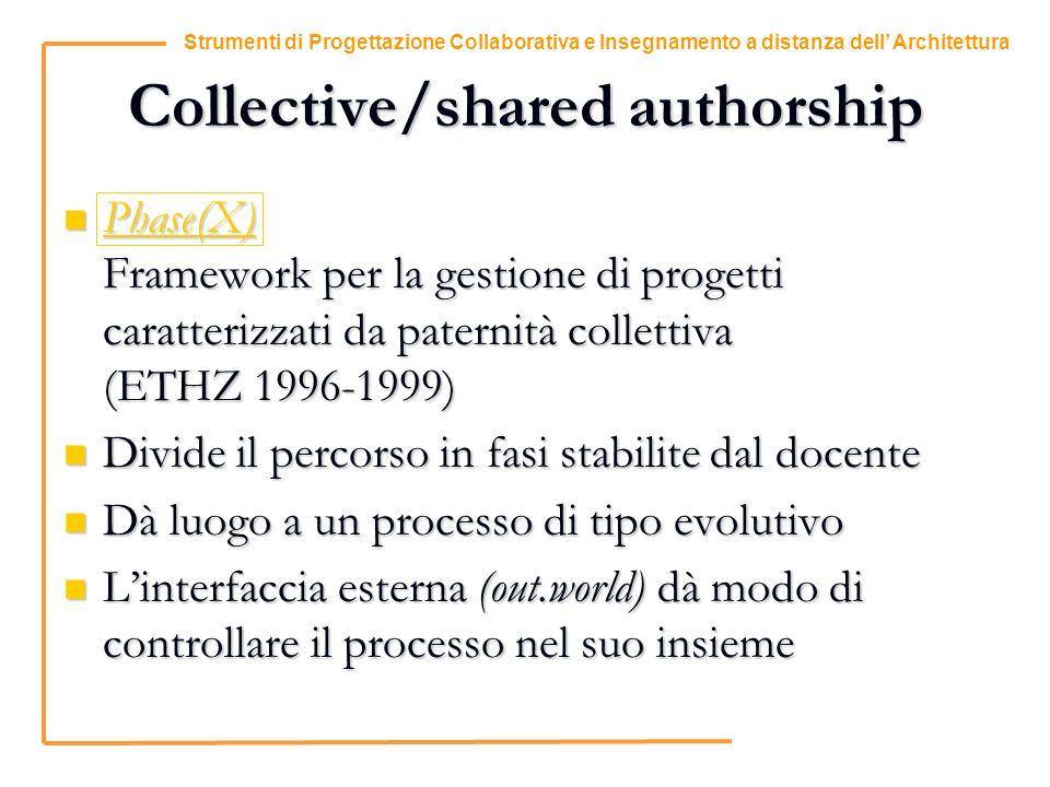 11 Strumenti di Progettazione Collaborativa e Insegnamento a distanza dell Architettura Collective/shared authorship Phase(X) Framework per la gestione di progetti caratterizzati da paternità collettiva (ETHZ 1996-1999) Phase(X) Framework per la gestione di progetti caratterizzati da paternità collettiva (ETHZ 1996-1999) Phase(X) Divide il percorso in fasi stabilite dal docente Divide il percorso in fasi stabilite dal docente Dà luogo a un processo di tipo evolutivo Dà luogo a un processo di tipo evolutivo Linterfaccia esterna (out.world) dà modo di controllare il processo nel suo insieme Linterfaccia esterna (out.world) dà modo di controllare il processo nel suo insieme
