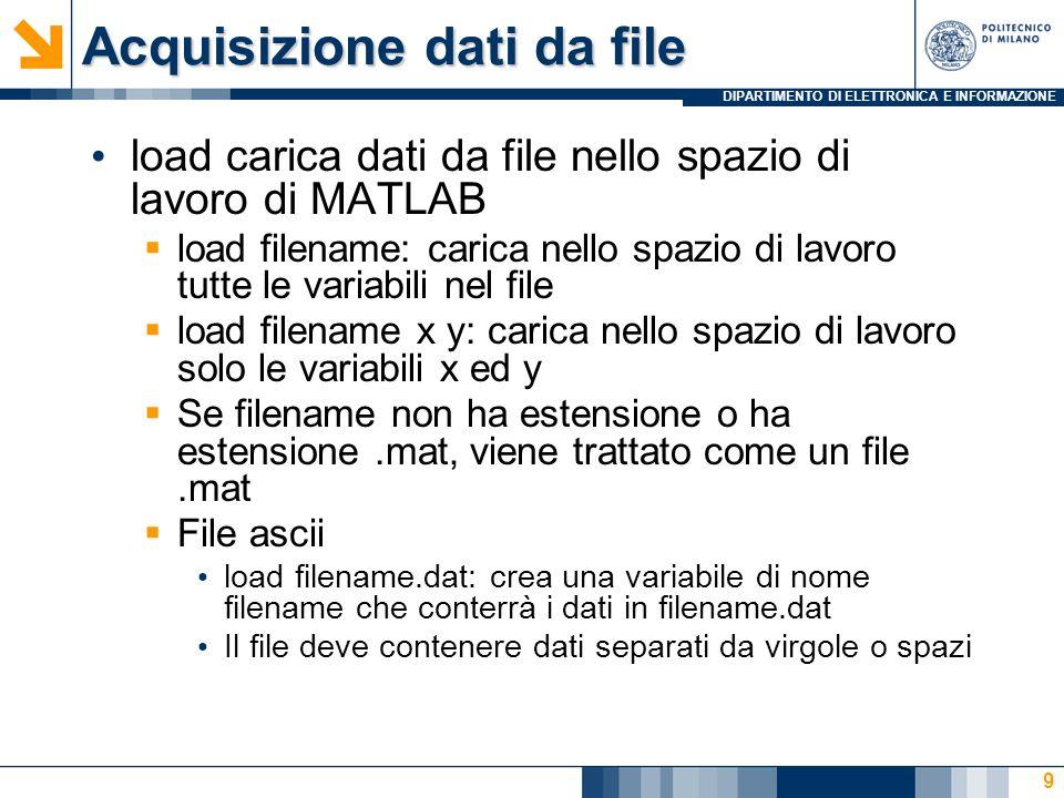 DIPARTIMENTO DI ELETTRONICA E INFORMAZIONE Acquisizione dati da file load carica dati da file nello spazio di lavoro di MATLAB load filename: carica nello spazio di lavoro tutte le variabili nel file load filename x y: carica nello spazio di lavoro solo le variabili x ed y Se filename non ha estensione o ha estensione.mat, viene trattato come un file.mat File ascii load filename.dat: crea una variabile di nome filename che conterrà i dati in filename.dat Il file deve contenere dati separati da virgole o spazi 9