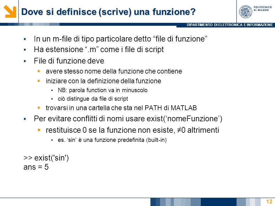 DIPARTIMENTO DI ELETTRONICA E INFORMAZIONE Dove si definisce (scrive) una funzione.