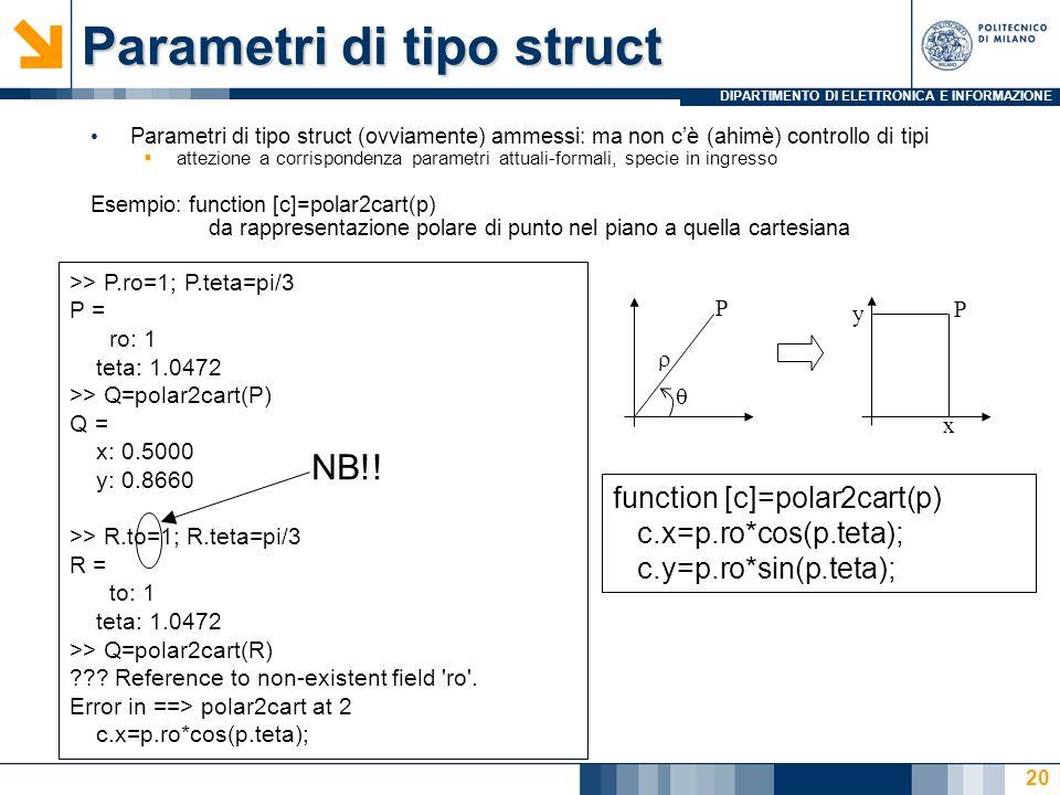 DIPARTIMENTO DI ELETTRONICA E INFORMAZIONE Parametri di tipo struct Parametri di tipo struct (ovviamente) ammessi: ma non cè (ahimè) controllo di tipi attezione a corrispondenza parametri attuali-formali, specie in ingresso Esempio: function [c]=polar2cart(p) da rappresentazione polare di punto nel piano a quella cartesiana function [c]=polar2cart(p) c.x=p.ro*cos(p.teta); c.y=p.ro*sin(p.teta); P x y P >> P.ro=1; P.teta=pi/3 P = ro: 1 teta: 1.0472 >> Q=polar2cart(P) Q = x: 0.5000 y: 0.8660 >> R.to=1; R.teta=pi/3 R = to: 1 teta: 1.0472 >> Q=polar2cart(R) .