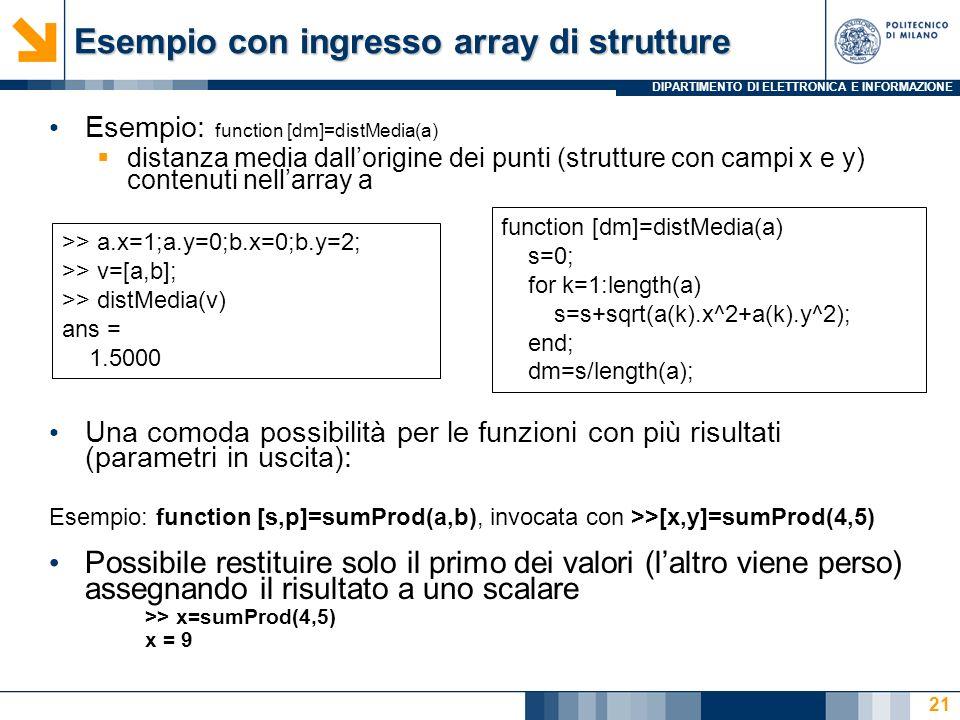 DIPARTIMENTO DI ELETTRONICA E INFORMAZIONE Esempio con ingresso array di strutture Esempio: function [dm]=distMedia(a) distanza media dallorigine dei punti (strutture con campi x e y) contenuti nellarray a Una comoda possibilità per le funzioni con più risultati (parametri in uscita): Esempio: function [s,p]=sumProd(a,b), invocata con >>[x,y]=sumProd(4,5) Possibile restituire solo il primo dei valori (laltro viene perso) assegnando il risultato a uno scalare >> x=sumProd(4,5) x = 9 function [dm]=distMedia(a) s=0; for k=1:length(a) s=s+sqrt(a(k).x^2+a(k).y^2); end; dm=s/length(a); >> a.x=1;a.y=0;b.x=0;b.y=2; >> v=[a,b]; >> distMedia(v) ans = 1.5000 21