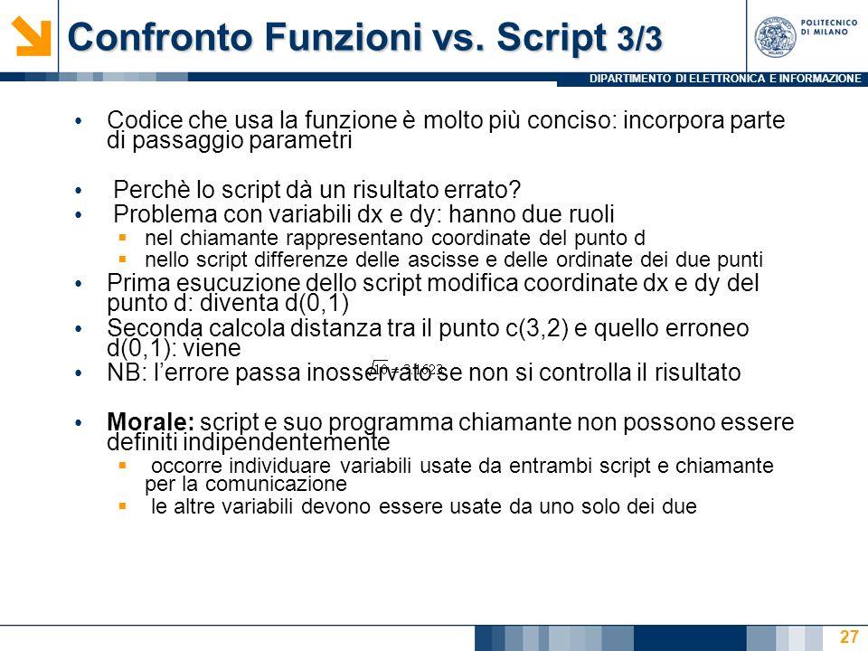 DIPARTIMENTO DI ELETTRONICA E INFORMAZIONE Confronto Funzioni vs.