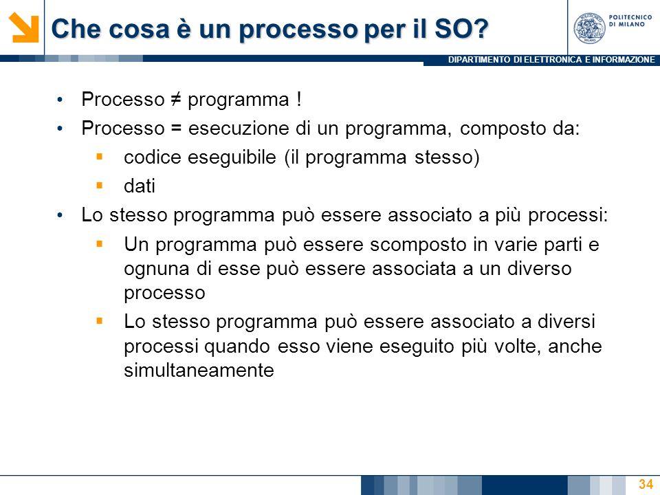 DIPARTIMENTO DI ELETTRONICA E INFORMAZIONE 34 Che cosa è un processo per il SO? Processo programma ! Processo = esecuzione di un programma, composto d