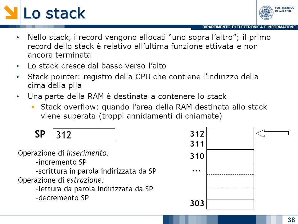 DIPARTIMENTO DI ELETTRONICA E INFORMAZIONE Lo stack Nello stack, i record vengono allocati uno sopra laltro; il primo record dello stack è relativo allultima funzione attivata e non ancora terminata Lo stack cresce dal basso verso lalto Stack pointer: registro della CPU che contiene lindirizzo della cima della pila Una parte della RAM è destinata a contenere lo stack Stack overflow: quando larea della RAM destinata allo stack viene superata (troppi annidamenti di chiamate) 38 312 311 310 303...