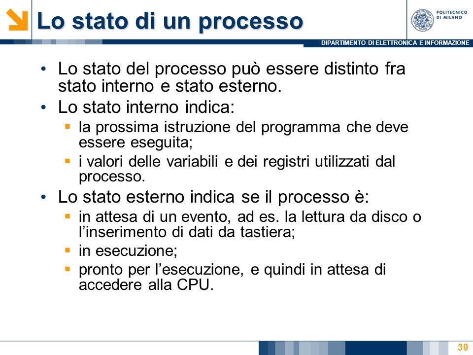 DIPARTIMENTO DI ELETTRONICA E INFORMAZIONE 39 Lo stato di un processo Lo stato del processo può essere distinto fra stato interno e stato esterno. Lo