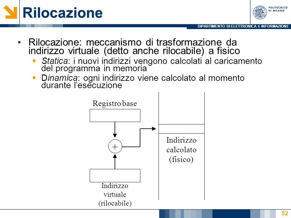 DIPARTIMENTO DI ELETTRONICA E INFORMAZIONE 52Rilocazione Rilocazione: meccanismo di trasformazione da indirizzo virtuale (detto anche rilocabile) a fisico Statica: i nuovi indirizzi vengono calcolati al caricamento del programma in memoria Dinamica: ogni indirizzo viene calcolato al momento durante lesecuzione Registro base Indirizzo virtuale (rilocabile) + Indirizzo calcolato (fisico)