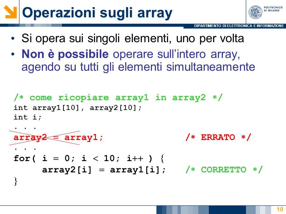 DIPARTIMENTO DI ELETTRONICA E INFORMAZIONE 10 Si opera sui singoli elementi, uno per volta Non è possibile operare sullintero array, agendo su tutti gli elementi simultaneamente / come ricopiare array1 in array2 / int array1[10], array2[10]; int i;...