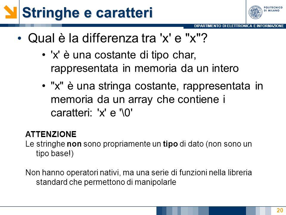 DIPARTIMENTO DI ELETTRONICA E INFORMAZIONE 20 Stringhe e caratteri Qual è la differenza tra x e x .