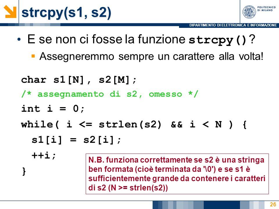 DIPARTIMENTO DI ELETTRONICA E INFORMAZIONE 26 E se non ci fosse la funzione strcpy() .