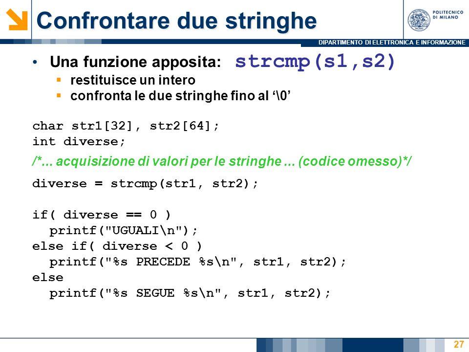 DIPARTIMENTO DI ELETTRONICA E INFORMAZIONE 27 Una funzione apposita: strcmp(s1,s2) restituisce un intero confronta le due stringhe fino al \0 char str1[32], str2[64]; int diverse; /*...