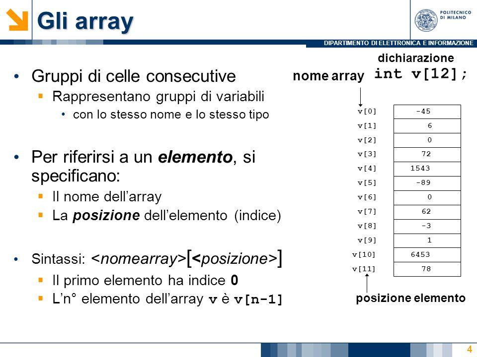 DIPARTIMENTO DI ELETTRONICA E INFORMAZIONE 4 Gruppi di celle consecutive Rappresentano gruppi di variabili con lo stesso nome e lo stesso tipo Per riferirsi a un elemento, si specificano: Il nome dellarray La posizione dellelemento (indice) Sintassi: [ ] Il primo elemento ha indice 0 Ln° elemento dellarray v è v[n-1] v[6] -45 6 0 72 1543 -89 0 62 -3 1 6453 78 dichiarazione v[0] v[1] v[2] v[3] v[11] v[10] v[9] v[8] v[7] v[5] v[4] posizione elemento int v[12]; nome array Gli array