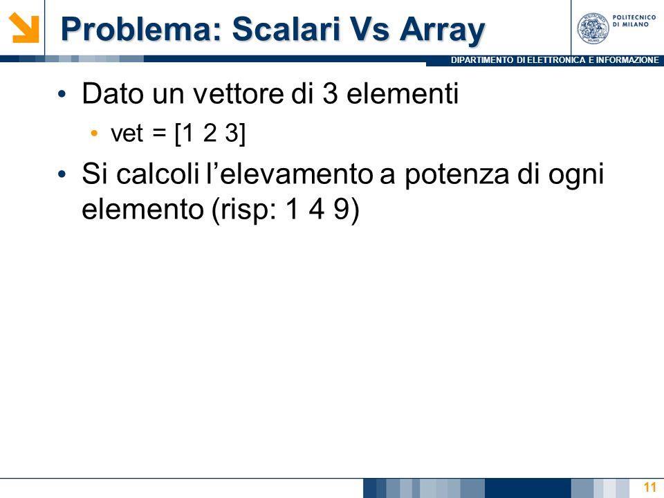 DIPARTIMENTO DI ELETTRONICA E INFORMAZIONE Problema: Scalari Vs Array Problema: Scalari Vs Array Dato un vettore di 3 elementi vet = [1 2 3] Si calcoli lelevamento a potenza di ogni elemento (risp: 1 4 9) 11