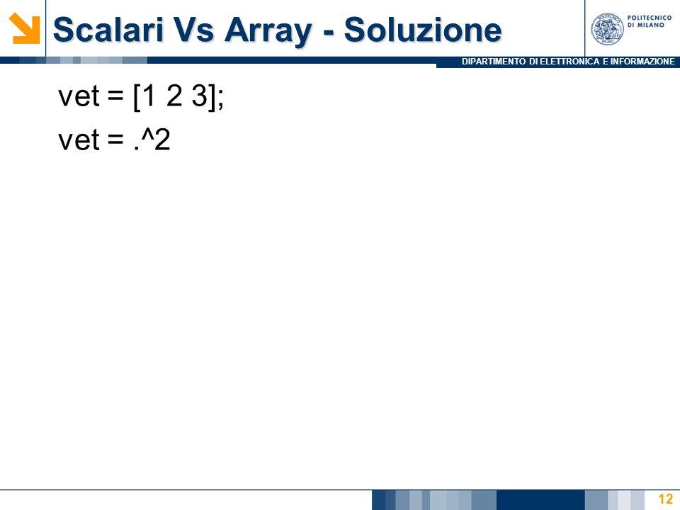 DIPARTIMENTO DI ELETTRONICA E INFORMAZIONE Scalari Vs Array - Soluzione vet = [1 2 3]; vet =.^2 12