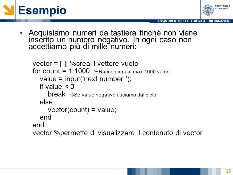 DIPARTIMENTO DI ELETTRONICA E INFORMAZIONEEsempio Acquisiamo numeri da tastiera finché non viene inserito un numero negativo.