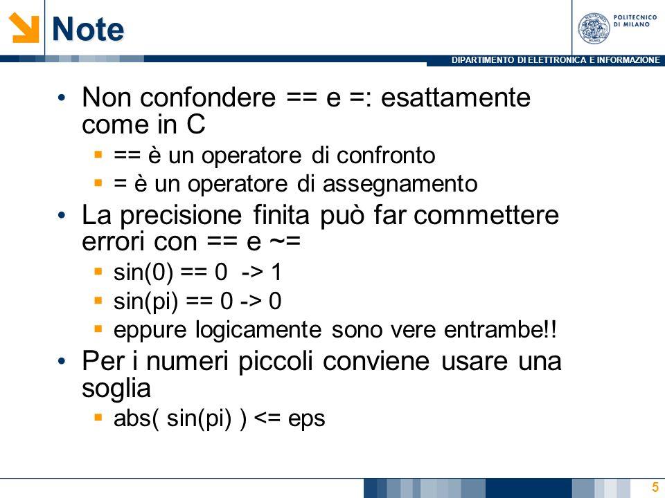 DIPARTIMENTO DI ELETTRONICA E INFORMAZIONENote Non confondere == e =: esattamente come in C == è un operatore di confronto = è un operatore di assegnamento La precisione finita può far commettere errori con == e ~= sin(0) == 0 -> 1 sin(pi) == 0 -> 0 eppure logicamente sono vere entrambe!.