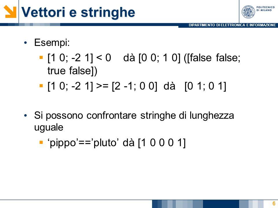 DIPARTIMENTO DI ELETTRONICA E INFORMAZIONE Vettori e stringhe Esempi: [1 0; -2 1] < 0 dà [0 0; 1 0] ([false false; true false]) [1 0; -2 1] >= [2 -1; 0 0] dà [0 1; 0 1] Si possono confrontare stringhe di lunghezza uguale pippo==pluto dà [1 0 0 0 1] 6