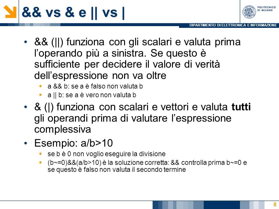 DIPARTIMENTO DI ELETTRONICA E INFORMAZIONE Il ciclo for for indice = espressione istruzioni end Esempio – leggi 7 numeri e mettili in un vettore di nome number: for n = 1:7 number(n) = input( enter value ); end Esempio - conto alla rovescia in secondi time = input( how long.