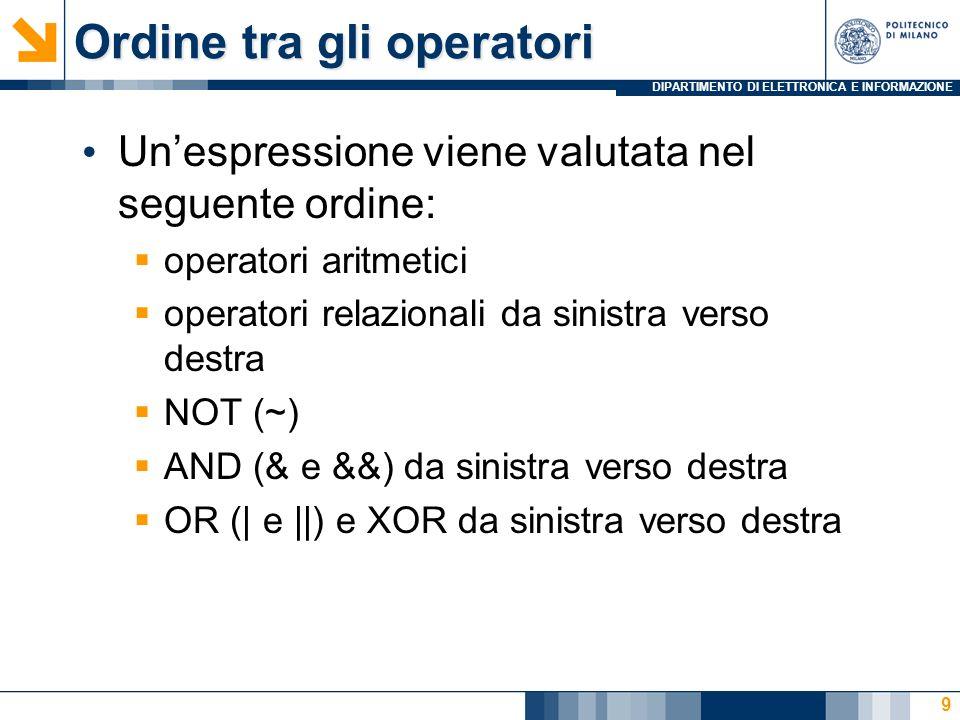 DIPARTIMENTO DI ELETTRONICA E INFORMAZIONE Ordine tra gli operatori Unespressione viene valutata nel seguente ordine: operatori aritmetici operatori relazionali da sinistra verso destra NOT (~) AND (& e &&) da sinistra verso destra OR (| e ||) e XOR da sinistra verso destra 9
