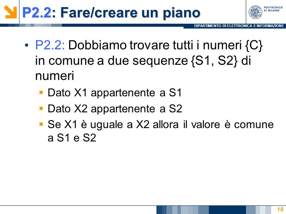 DIPARTIMENTO DI ELETTRONICA E INFORMAZIONE P2.2: Fare/creare un piano P2.2: Dobbiamo trovare tutti i numeri {C} in comune a due sequenze {S1, S2} di numeri Dato X1 appartenente a S1 Dato X2 appartenente a S2 Se X1 è uguale a X2 allora il valore è comune a S1 e S2 18