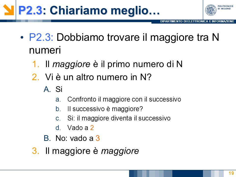 DIPARTIMENTO DI ELETTRONICA E INFORMAZIONE P2.3: Chiariamo meglio… P2.3: Dobbiamo trovare il maggiore tra N numeri 1.Il maggiore è il primo numero di N 2.Vi è un altro numero in N.