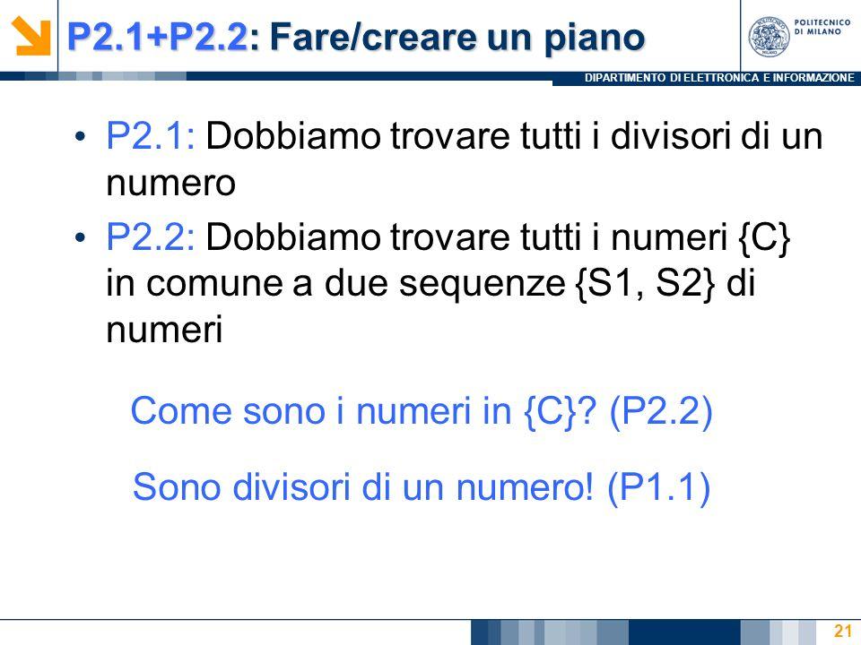 DIPARTIMENTO DI ELETTRONICA E INFORMAZIONE P2.1+P2.2: Fare/creare un piano P2.1: Dobbiamo trovare tutti i divisori di un numero P2.2: Dobbiamo trovare tutti i numeri {C} in comune a due sequenze {S1, S2} di numeri 21 Come sono i numeri in {C}.