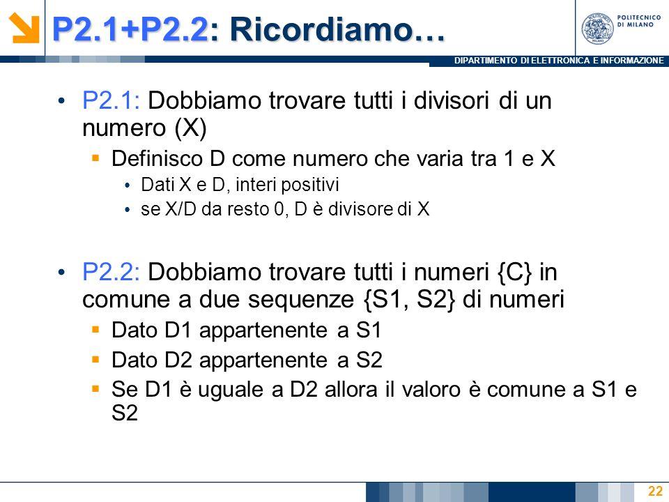 DIPARTIMENTO DI ELETTRONICA E INFORMAZIONE P2.1+P2.2: Ricordiamo… P2.1: Dobbiamo trovare tutti i divisori di un numero (X) Definisco D come numero che varia tra 1 e X Dati X e D, interi positivi se X/D da resto 0, D è divisore di X P2.2: Dobbiamo trovare tutti i numeri {C} in comune a due sequenze {S1, S2} di numeri Dato D1 appartenente a S1 Dato D2 appartenente a S2 Se D1 è uguale a D2 allora il valoro è comune a S1 e S2 22