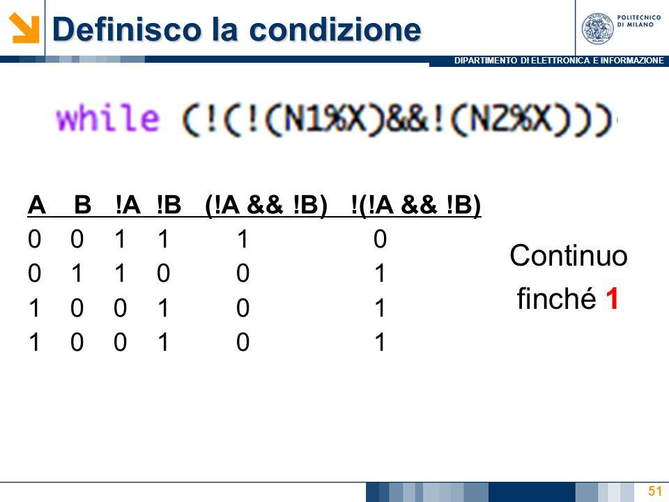 DIPARTIMENTO DI ELETTRONICA E INFORMAZIONE Definisco la condizione 51 A B !A !B (!A && !B) !(!A && !B) 0 0 1 1 1 0 0 1 1 0 0 1 1 0 0 1 0 1 Continuo finché 1