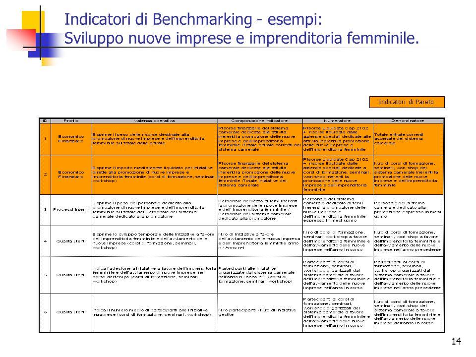 14 Indicatori di Benchmarking - esempi: Sviluppo nuove imprese e imprenditoria femminile. Indicatori di Pareto