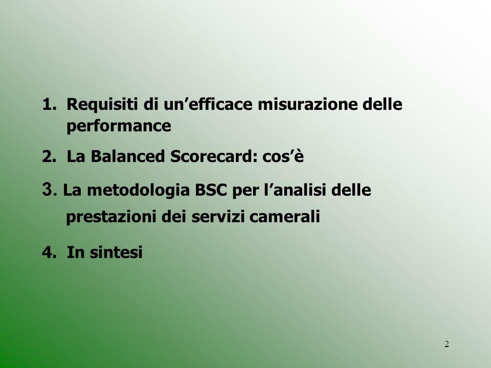 2 1.Requisiti di unefficace misurazione delle performance 2. La Balanced Scorecard: cosè 3. La metodologia BSC per lanalisi delle prestazioni dei serv